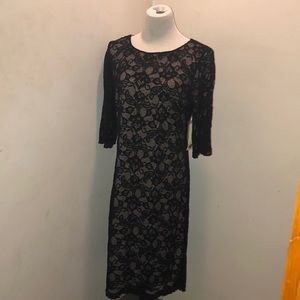 Black lace dress with nude lining and  3/4 sleeve